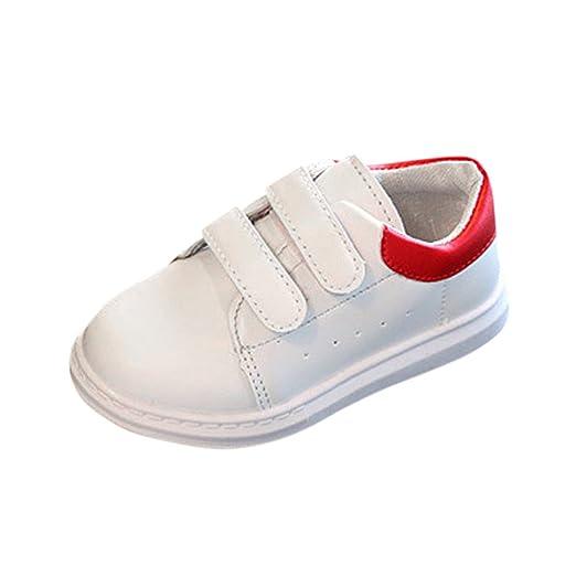 YanHoo Calzado Deportivo para niños niñas niños Solos Zapatos Casuales Zapatos Blancos Bebé Moda Zapatillas de Deporte Sólidas Niños Pequeños Deporte Casual ...