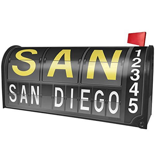 NEONBLOND SAN Airport Code for San Diego Magnetic Mailbox Cover Custom Numbers