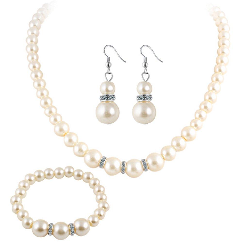 TraveT Fashionable Faux Pearl Diamond Crystal Necklace Earrings Bracelet Set Jewelry for Women Wedding
