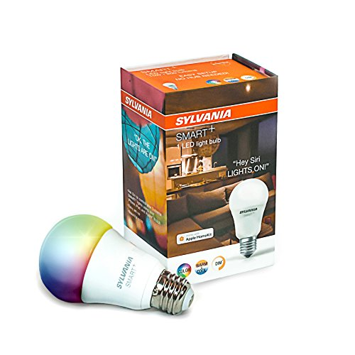 SYLVANIA SMART A19 Full Color LED Bulb, Works with Apple HomeKit and Siri Voice Control, No Hub Required, 74484 (Bluetooth Edition), 1 Pack, Adjustable White