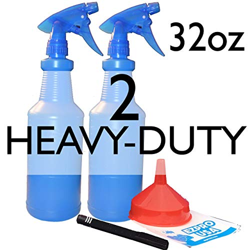 EZPROUSA Pack of 2 Blue 32 oz Translucent LeakFree Chemical Mist Spray Plastic Bottle Empty HeavyDuty Industrial Sprayer for Cleaning Solutions Pet Grooming Cat Dog Horse Sanitize Detailing Janitorial ()