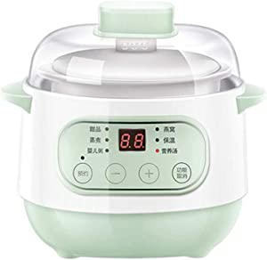 Ceramic Pot Smart Electric Slow Stew Pot, Slow Cooker Liner with Hinged Lid Oval Slow Cookers with Timers Anti-Stick and Easy Clean forSuitable for 1-2 people (green)