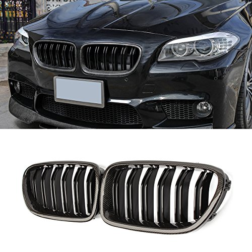 Grille Grill Carbon Fiber - F10 Grille,Carbon Fiber Front Replacement Kidney Grill for BMW 5 Series F10 Gloss Black