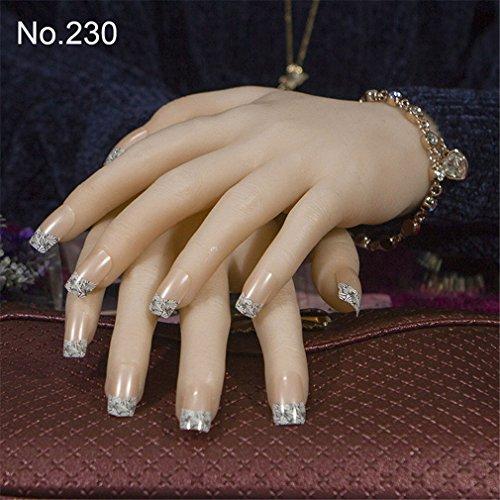 24Pcs/Set Square False Nails Flower Artificial Fake Nail Tips Full Cover Nail Tips 230 -
