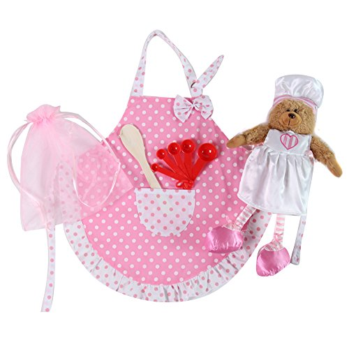 Girls Polka Dot Apron & Baker Bear Gift Set - Kids Polka Dot Bear