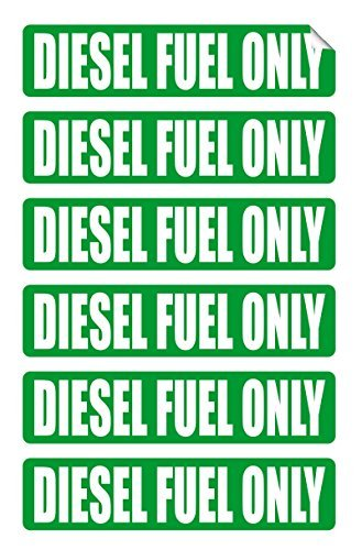 - 6 pack DIESEL FUEL ONLY Decals / Stickers / Labels / Markers