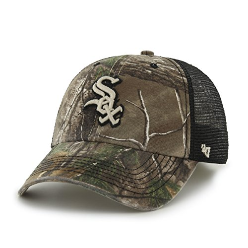 ('47 MLB Chicago White Sox Huntsman Closer Camo Mesh Stretch Fit Hat, One Size, Realtree Camouflage)