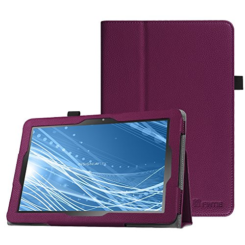 Fintie Case for Insignia Flex 10.1 Inch Tablet NS-P10A7100 / NS-P10A8100, Slim Fit Premium Vegan Leather Folio Cover with Stylus Holder, Purple