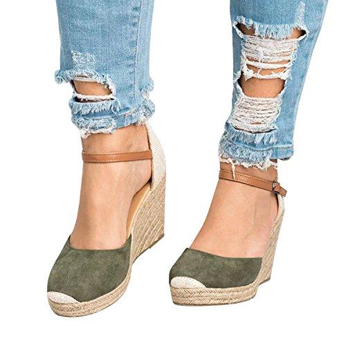 Syktkmx Womens Color Block Ankle Strap Espadrille Platform Wedge Heeled Cap Toe (Green Wedge Platform)