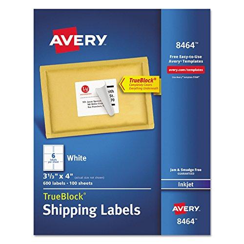 Avery 8464 Inkjet Labels, Shipping, Permanent, 3-1/3