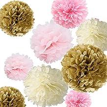 Fonder Mols 12 Tissue Pom Poms Kit - Ivory, Light Pink, Pink and kahki- Pom Poms Decor,tissue Paper Pom Poms,tissue Paper Pom Poms Pink,Tissue Paper Flowers Kit, Pom Poms Craft