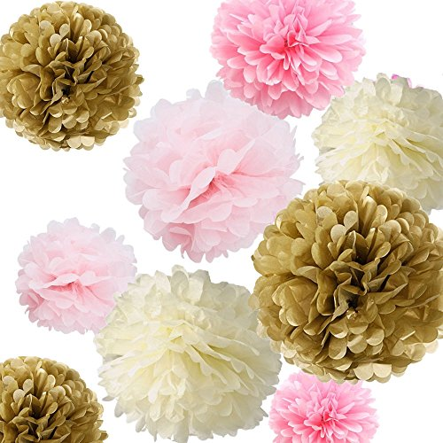 Fonder Mols 12 Tissue Pom Poms Kit - Ivory, Light Pink, Pink and kahki- Pom Poms Decor,tissue Paper Pom Poms,tissue Paper Pom Poms Pink,Tissue Paper Flowers Kit, Pom Poms Craft (Easy Halloween Crafts Tissue Paper)