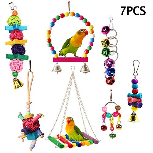 ESRISE Bird Parrot Toys, Hanging Bell Pet Bird Cage Hammock Swing Toy Wooden Perch Chewing Toy for Large Parrots, Conures, Love Birds, Small Parakeets Cockatiels, Macaws, Finches (7 Pcs)