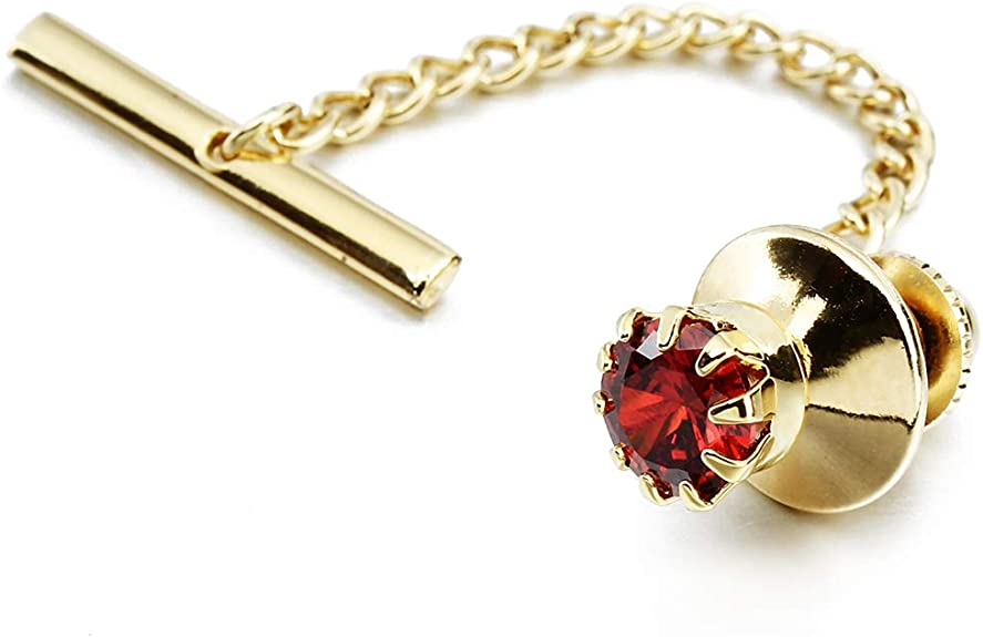 Mens Crystal Tie Tack with Chain Gold Tone Tie Pin in Gift Box Wedding Birthday Anniversary Party