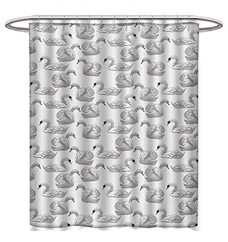 (Anhuthree Swan Shower Curtain Collection by Sketch Art Pattern of Swimming Waterfowls Symbols of Gentility Grace and Romance Satin Fabric Sets Bathroom W69 x L75 Black White)