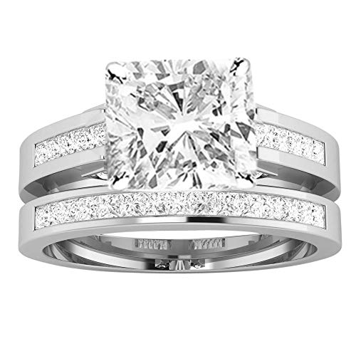 2.25 Ctw 14K White Gold Channel Set Princess Bridal Set Wedding Band and Matching GIA Certified Cushion Cut Diamond Engagement Ring (1.5 Ct Center H-I Color VS1-VS2 Clarity)