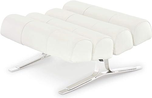 Zuri Furniture Modern Astoria Ottoman – White Genuine Italian Leather with Chrome Base