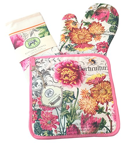Michel Design Works Tea Towel, Oven Mitt, Pot Holder Set (Blooms and Bees) (Extra Cotton Loom Bands compare prices)