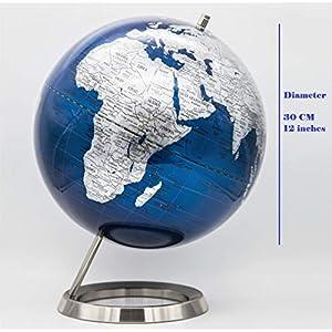 EXERZ 30CM Globo En Azul Plateado con una base de acero inoxidable – en Inglés – Empaquetado En Caja Kraft De Primera Calidad, Ideal como Regalo – Azúl metálico