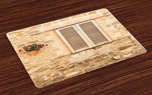 Lunarable Tuscan Place Mats Set of 4, Rustic Stone House and Window Shutters Flower Pot on Wall Italian Country Home Theme, Washable Fabric Placemats for Dining Room Kitchen Table Decor, Beige