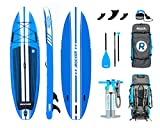 iROCKER All-Around Inflatable Stand Up Paddle Board 11' Long 32'' Wide 6'' Thick SUP Package (Blue 2019)