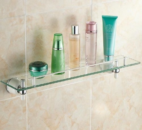 TACCY Single Bathroom Glass Shelf with Two White+Chrome Finish Brackets Brass made Toughened Safety Mounted Glass shelf #MKL2C by TACCY