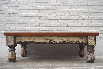 China Flacher Tisch Couchtisch Naturholz Platte Auf Weiss Lackierter