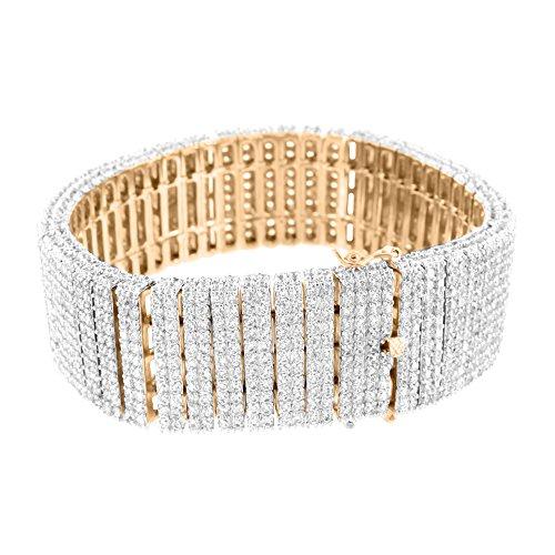Two Row Diamond Bracelet (14K Rose Gold Finish New Mens 2 Row 8.5