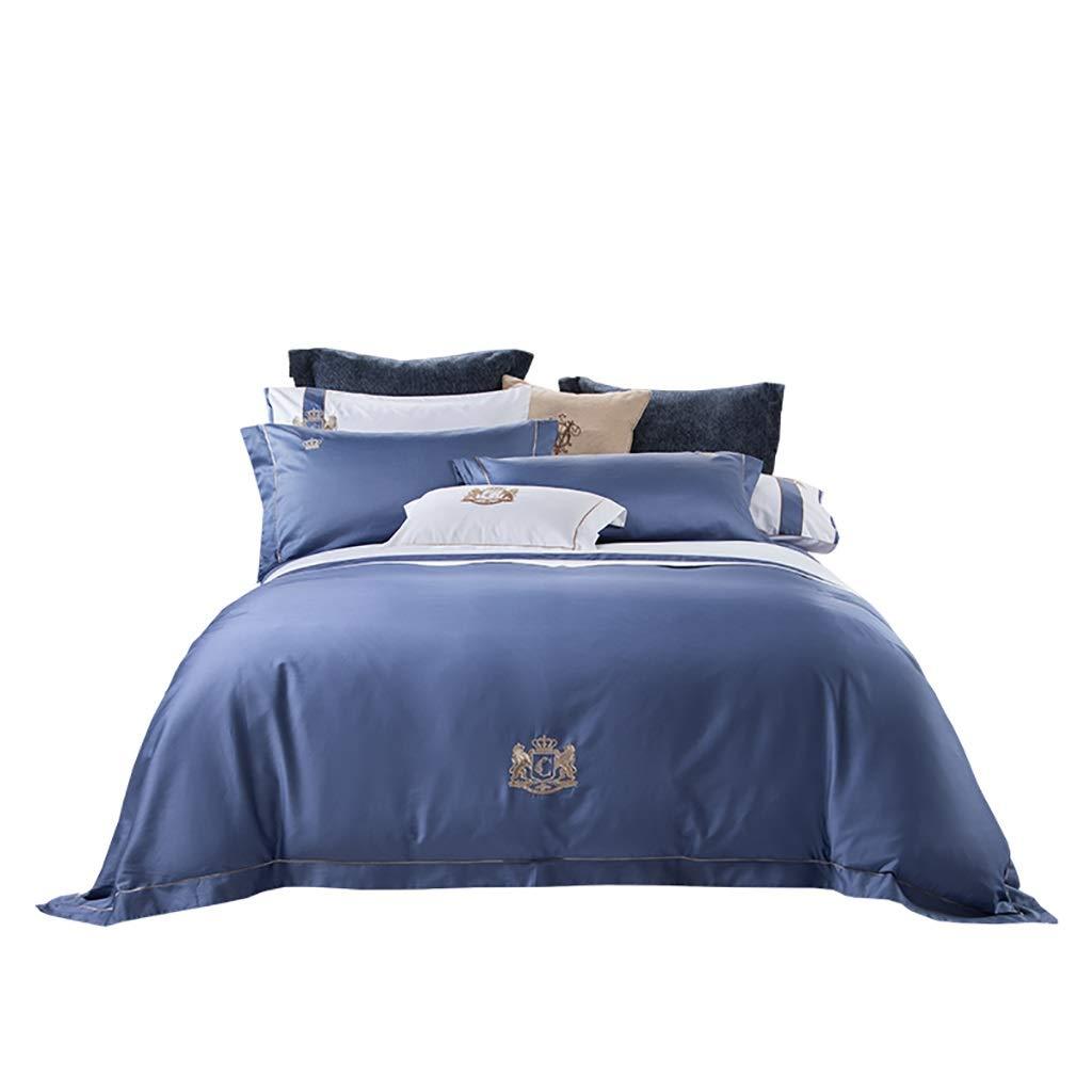 CARESEEN 寝具4ピースセット60 s無地刺繍綿ネクタイ位置決めジッパーデザイン2枕カバー1枚シーツ1キルトカバー3色選択の家の寝室の誕生日プレゼント (色 : Blue1.8m) B07P9SRPGD Blue1.8m