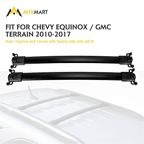 AUXMART Roof Rack Crossbar Kit for Chevy Equinox GMC Terrain 2010 2011 2012 2013 2014 2015 2016 2017 - 132LBS / 60KG Capacity (Pack of 2)