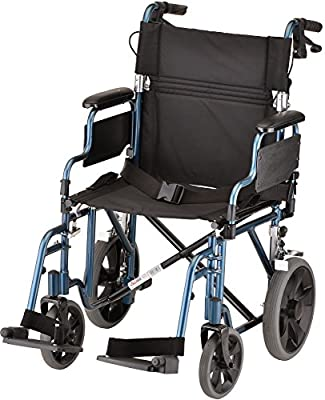 """NOVA Medical Products 352 Lightweight Transport Chair with Detachable Desk Arms, Hand Brakes and 12"""" Rear Wheels, 19"""", Blue"""