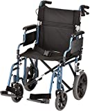 "NOVA Lightweight Transport Chair w/12"" Rear Wheels, Blue"