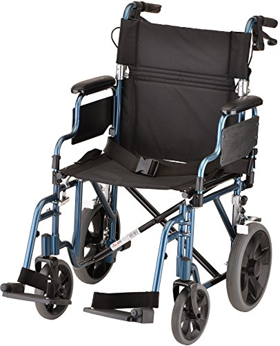 "NOVA Lightweight Transport Chair w/12"" Rear Wheels, Blue by NOVA Medical Products"