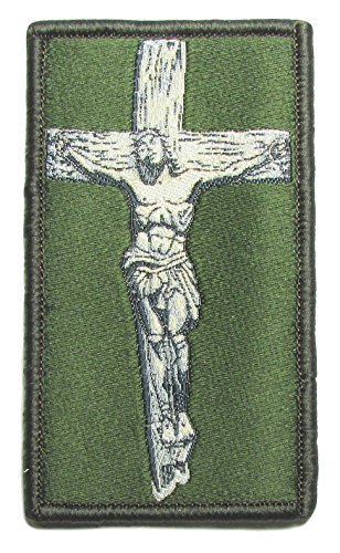 "[Single Count] Custom, Cool & Awesome {3'' by 1 3/4'' Inches} Small US Armed Forces Religious Military Jesus Christ Crusader Cross Badge (Tactical Type) Velcro Patch ""Green & White"" by mySimple Products"