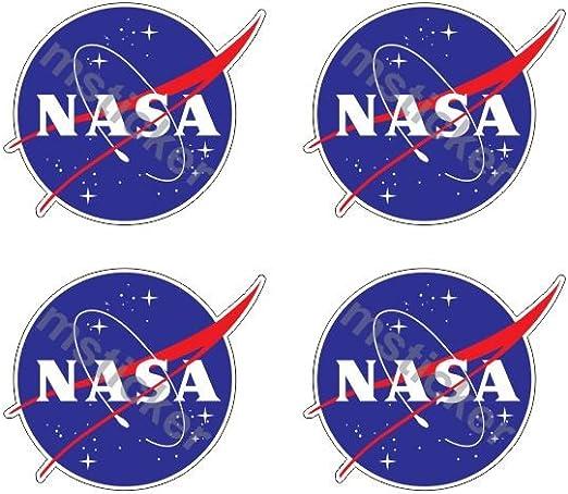 4 Aufkleber Nasa Frikadelle Meatball Logo Emblem Aufkleber Sticker Gratis Schlüsselringanhänger Aus Kokosnuss Schale Auto Motorrad Laptop Racing Space Space Shuttle Apollo Mond Star Astronomie Auto
