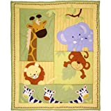 UK 3 Piece Brown Blue Yellow Baby Safari Crib Bedding Set, Newborn Animal Themed Nursery Bed Set Infant Child Zoo Jungle Africa Lion Monkey Elephant Blanket Comforter Triangle Pattern, Cotton Blend