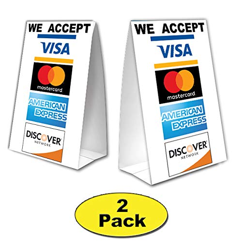 We Accept Credit Cards Table Tent with UV Coating - MasterCard, Visa, Discover, American Express - 2 Pack