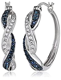 Sterling Silver Montana and White Swarovski Crystal Twisted Hoop Earrings