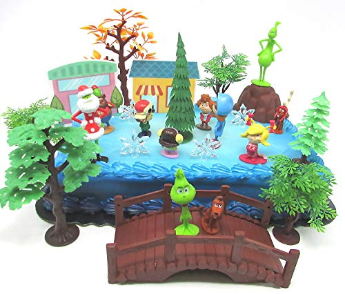 The Grinch Who Stole Christmas Cake Topper Set Featuring GRINCH and Friends Figures and Themed Accessories