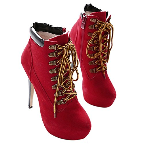 TOOGOO(R) Sexy Women Pointed Toe Stiletto High Heels Lace Up Ankle Boots Shoes Work BootieColors:red Sizes:EU 40 xfBCqfo