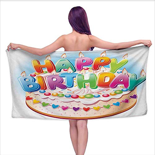 Onefzc Travel Bath Towel Kids Birthday Cartoon Style Happy Birthday Party Image Cake Candles Hearts Design Print Super Soft Highly Absorbent W35 x L12 Multicolor by Onefzc (Image #5)