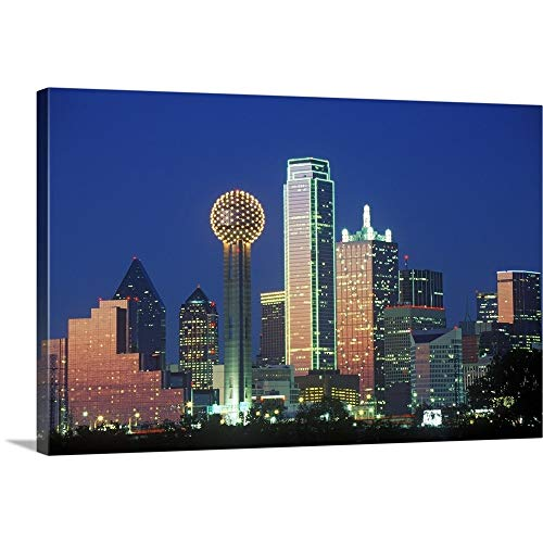 - GREATBIGCANVAS Gallery-Wrapped Canvas Entitled Dallas, TX Skyline at Night with Reunion Tower by 60