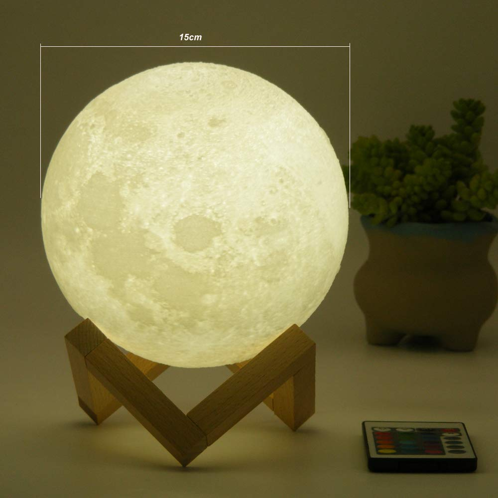 HYODREAM Moon Lamp Moon Light Night Light for Kids Gift for Women USB Charging and Touch and Remote Control Brightness 3D Printed 16colors Lamp (5.9 Inch Moon Light with Wooden Bracket) by HYODREAM (Image #7)