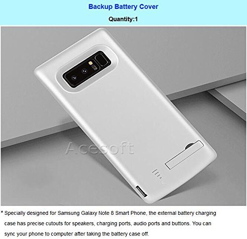 6500mAh Charger Case Rechargeable Extended Backup Battery Pack Portable Charging Bumper Protection Case Power Bank Cover for Samsung Galaxy Note 8 SM-N950U Cricket Android phone