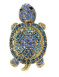 Alilang Adjustable Golden Tone Sapphire Blue Colored Rhinestones Turtle Tortoise Ring