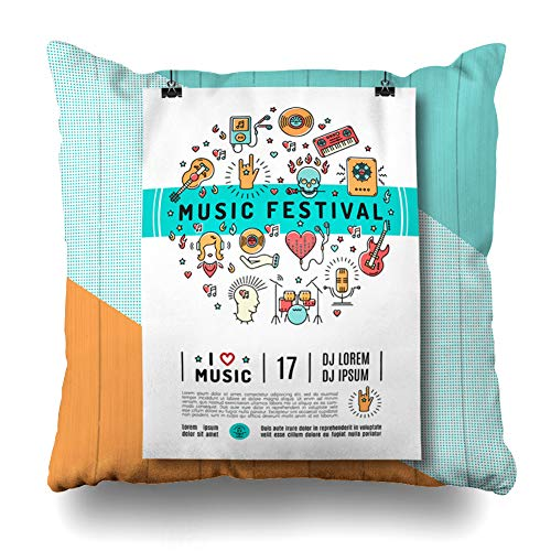 (KJONG Music Festival Trendy Line Art Rock Jazz Mock Flyers Square DecorativePillow Case 18 x 18inch Zippered Pillow Cover Bedroom Living Room(Two Sides)