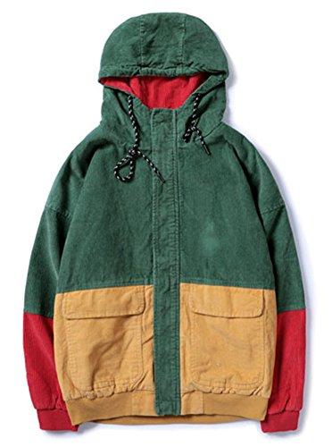 LifeHe Men Women Hip Hop Patchwork Corduroy Hooded Jackets Coats (Green, XS) ()