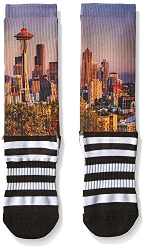 Legends novelty iconic scenic and destination printed socks, Seattle Space Needle, One Size