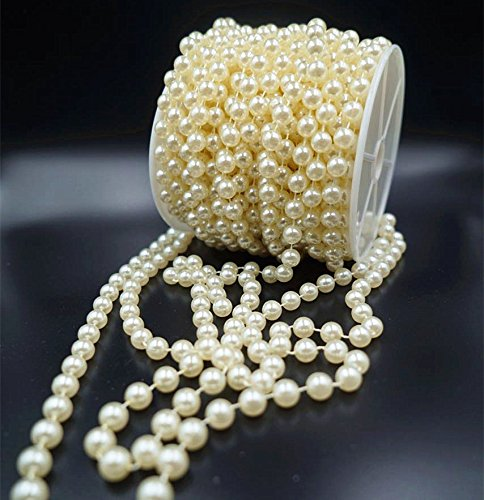Organic Man Made Pearl (CECII 10 mm Large Ivory Pearls Faux Crystal Beads by the Roll for Party)