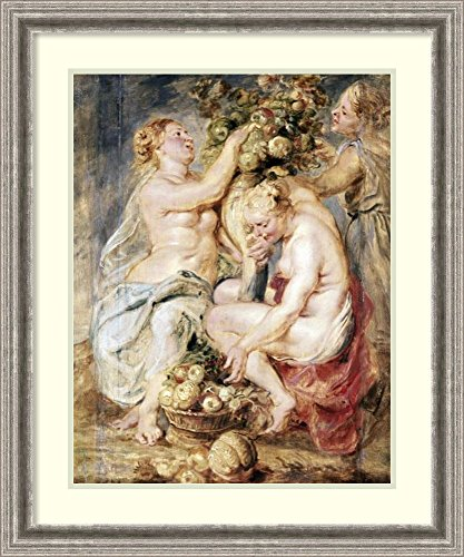 Framed Art Print 'Ceres and Two Nymphs with a Cornucopia' by Peter Paul Rubens